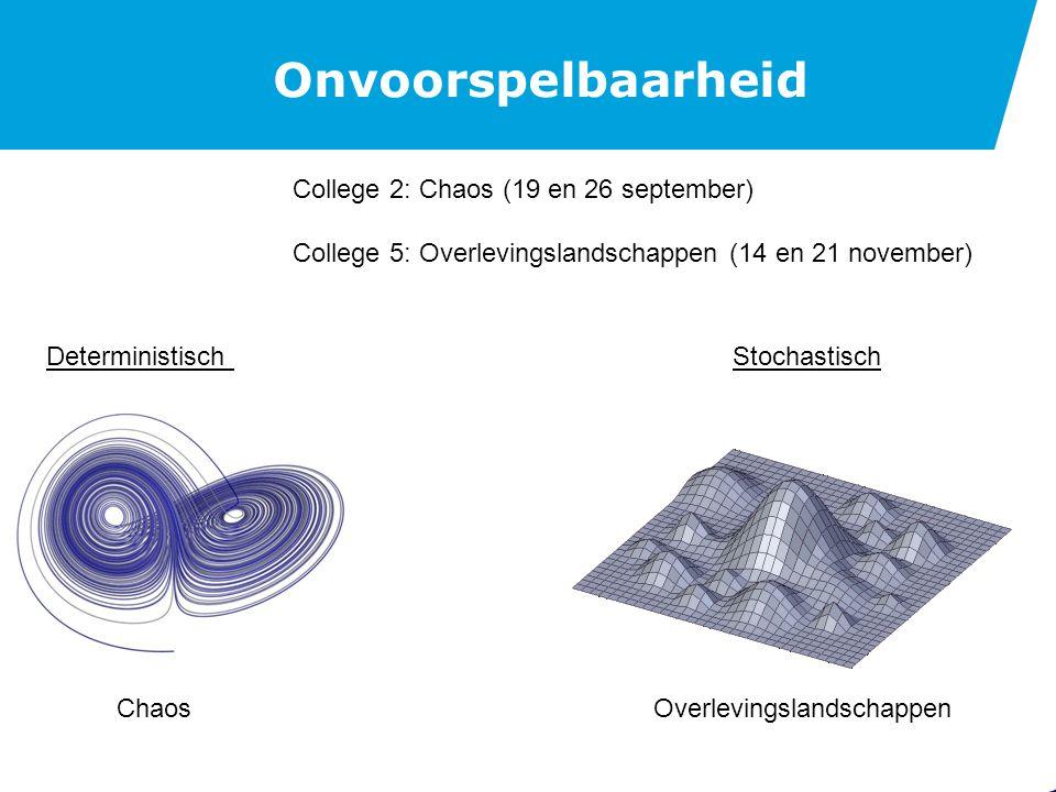 Onvoorspelbaarheid Deterministisch College 2: Chaos (19 en 26 september) College 5: Overlevingslandschappen (14 en 21 november) Stochastisch ChaosOverlevingslandschappen