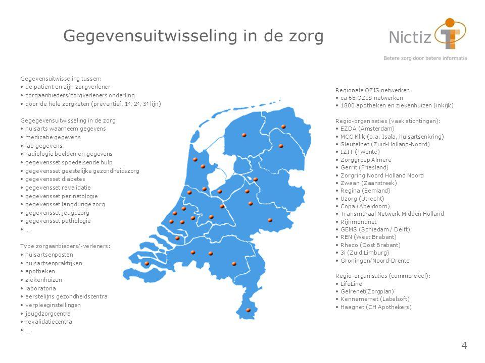 4 Gegevensuitwisseling in de zorg Regionale OZIS netwerken ca 65 OZIS netwerken 1800 apotheken en ziekenhuizen (inkijk) Regio-organisaties (vaak stich