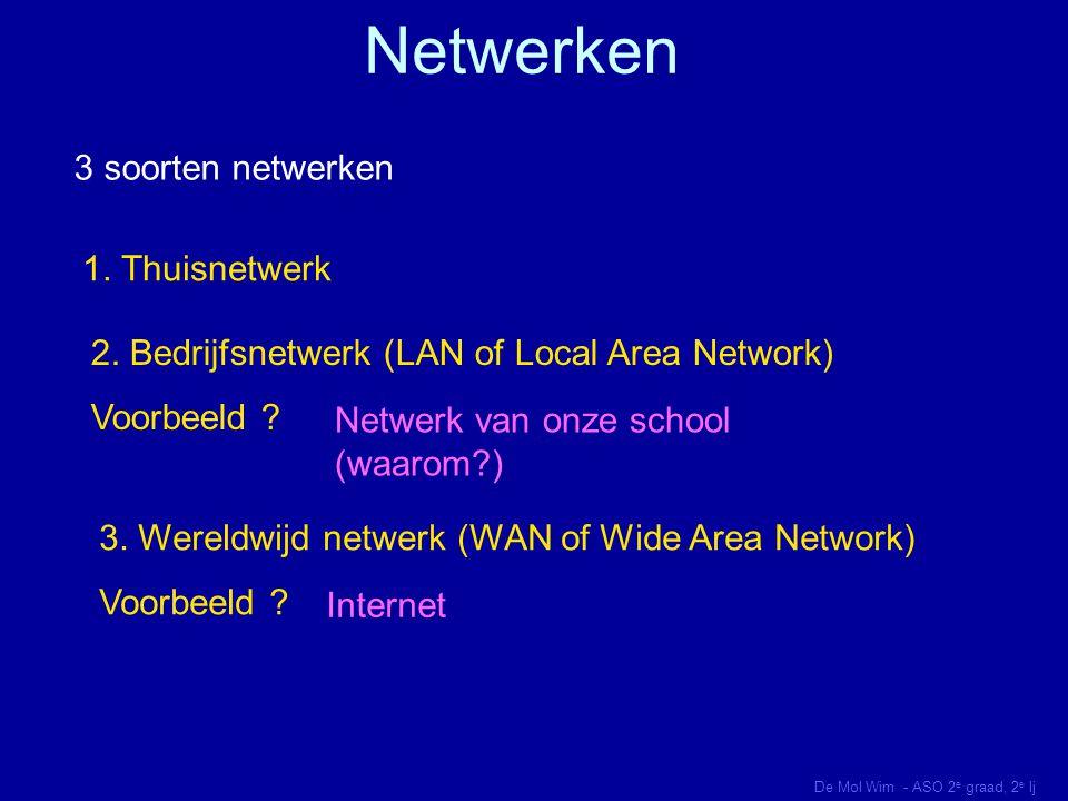 Voordelen van netwerken 1.Delen van randapparaten (voorbeelden ?) 2.