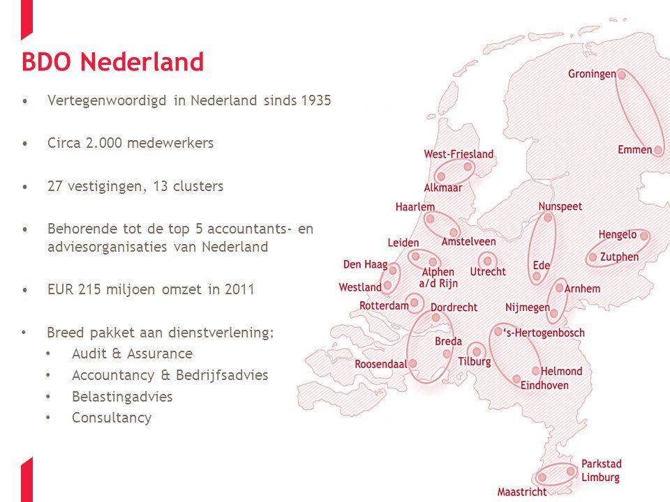 BDO Nederland Vertegenwoordigd in Nederland sinds 1935 Circa 2.000 medewerkers 27 vestigingen, 13 clusters Behorende tot de top 5 accountants- en adviesorganisaties van Nederland EUR 215 miljoen omzet in 2011 Breed pakket aan dienstverlening: Audit & Assurance Accountancy & Bedrijfsadvies Belastingadvies Consultancy