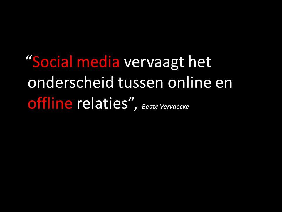 """""""Social media vervaagt het onderscheid tussen online en offline relaties"""", Beate Vervaecke"""