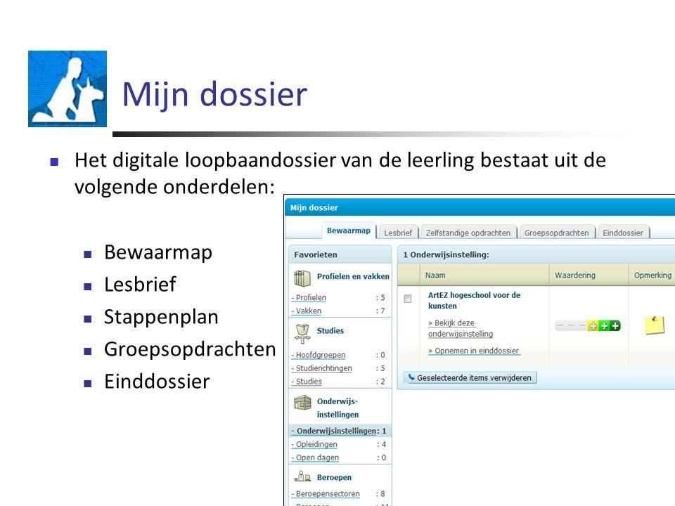 Mijn dossier Het digitale loopbaandossier van de leerling bestaat uit de volgende onderdelen: Bewaarmap Lesbrief Stappenplan Groepsopdrachten Einddossier