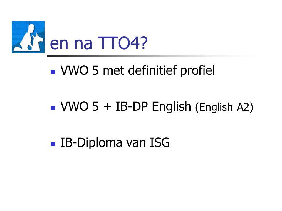 en na TTO4? VWO 5 met definitief profiel VWO 5 + IB-DP English (English A2) IB-Diploma van ISG