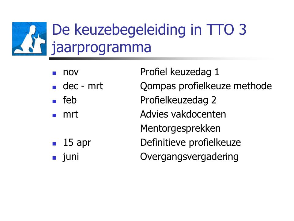 IB-MYP – extra's in tto4 Design Technology Personal Project vakken in het Engels Economics, Geography, History General Science, Chemistry, Physics Visual Arts, Culture&Arts, PE