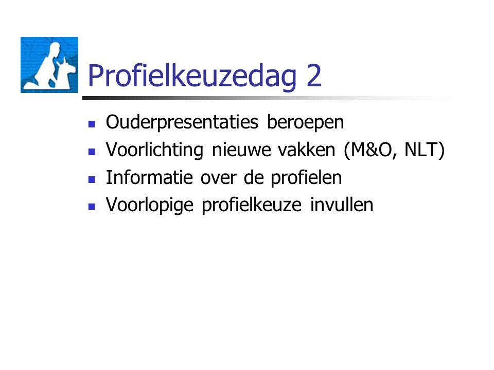 Profielkeuzedag 2 Ouderpresentaties beroepen Voorlichting nieuwe vakken (M&O, NLT) Informatie over de profielen Voorlopige profielkeuze invullen