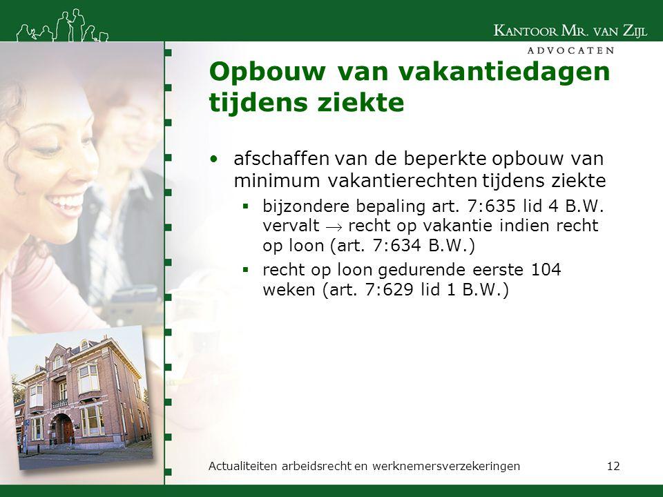 Opbouw van vakantiedagen tijdens ziekte afschaffen van de beperkte opbouw van minimum vakantierechten tijdens ziekte  bijzondere bepaling art. 7:635