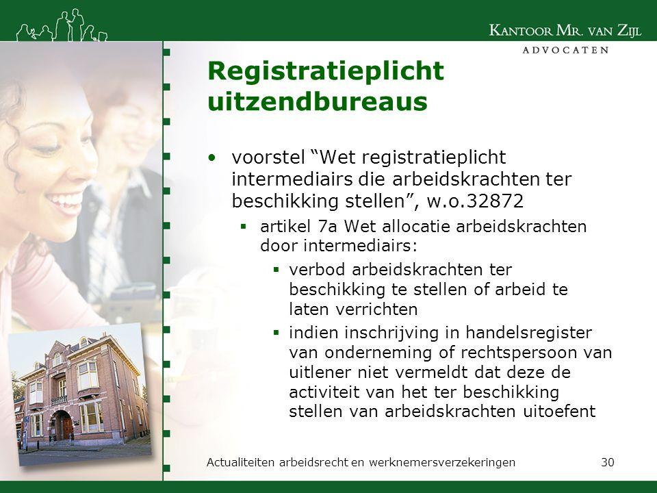 """Registratieplicht uitzendbureaus voorstel """"Wet registratieplicht intermediairs die arbeidskrachten ter beschikking stellen"""", w.o.32872  artikel 7a We"""