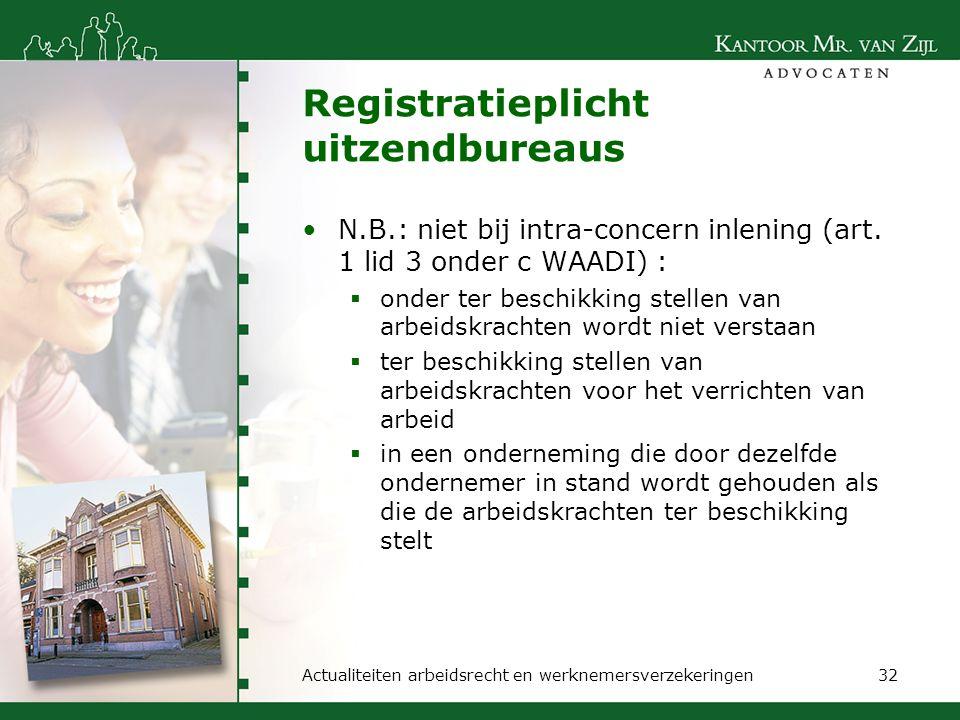 Registratieplicht uitzendbureaus N.B.: niet bij intra-concern inlening (art. 1 lid 3 onder c WAADI) :  onder ter beschikking stellen van arbeidskrach