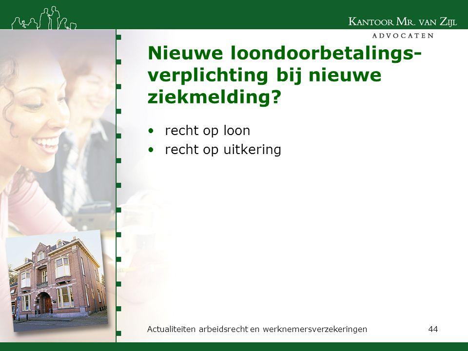 Nieuwe loondoorbetalings- verplichting bij nieuwe ziekmelding? recht op loon recht op uitkering Actualiteiten arbeidsrecht en werknemersverzekeringen4