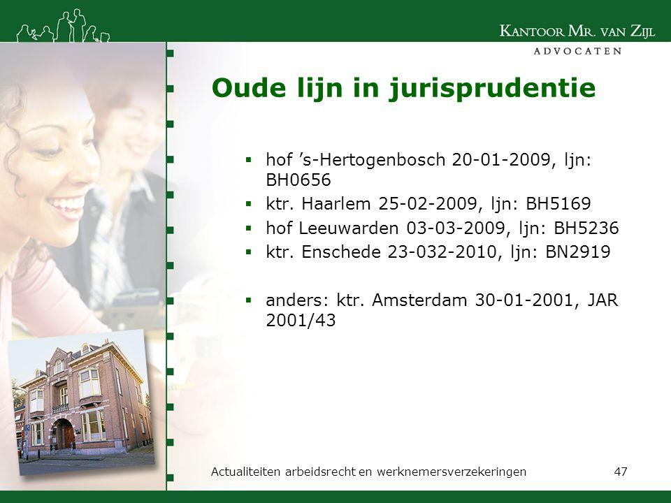 Oude lijn in jurisprudentie  hof 's-Hertogenbosch 20-01-2009, ljn: BH0656  ktr. Haarlem 25-02-2009, ljn: BH5169  hof Leeuwarden 03-03-2009, ljn: BH