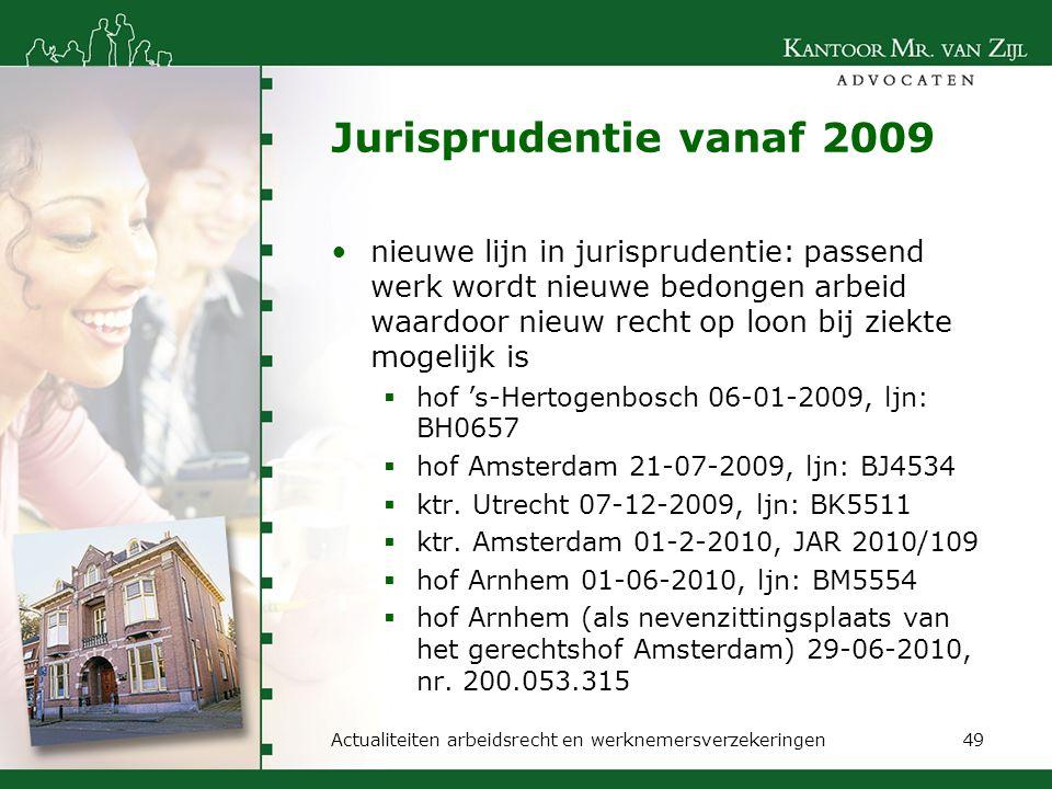 Jurisprudentie vanaf 2009 nieuwe lijn in jurisprudentie: passend werk wordt nieuwe bedongen arbeid waardoor nieuw recht op loon bij ziekte mogelijk is