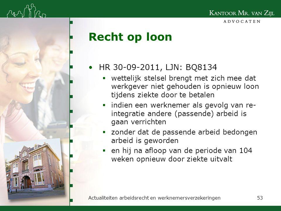 Recht op loon HR 30-09-2011, LJN: BQ8134  wettelijk stelsel brengt met zich mee dat werkgever niet gehouden is opnieuw loon tijdens ziekte door te be