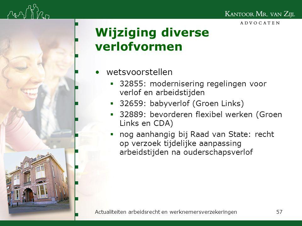 Wijziging diverse verlofvormen wetsvoorstellen  32855: modernisering regelingen voor verlof en arbeidstijden  32659: babyverlof (Groen Links)  3288