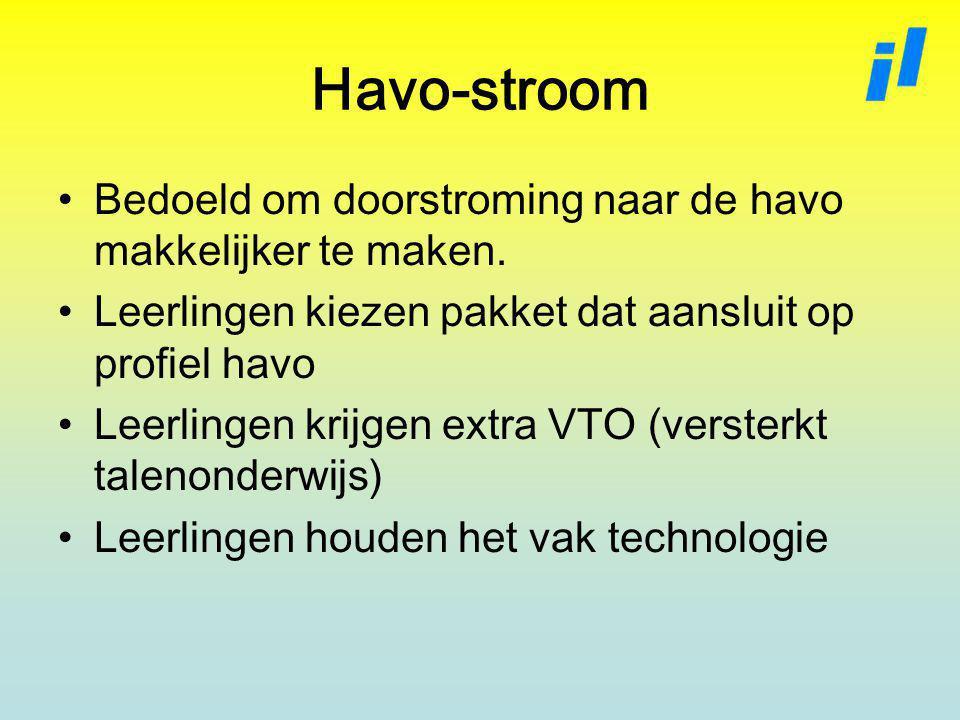 Havo-stroom Bedoeld om doorstroming naar de havo makkelijker te maken.