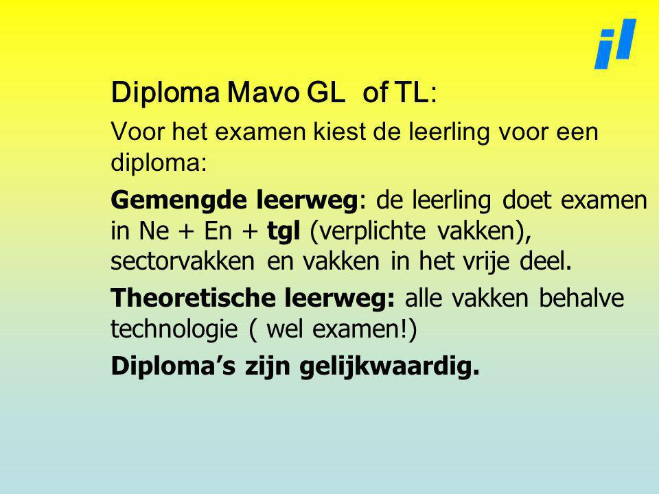 Diploma Mavo GL of TL: Voor het examen kiest de leerling voor een diploma: Gemengde leerweg: de leerling doet examen in Ne + En + tgl (verplichte vakken), sectorvakken en vakken in het vrije deel.