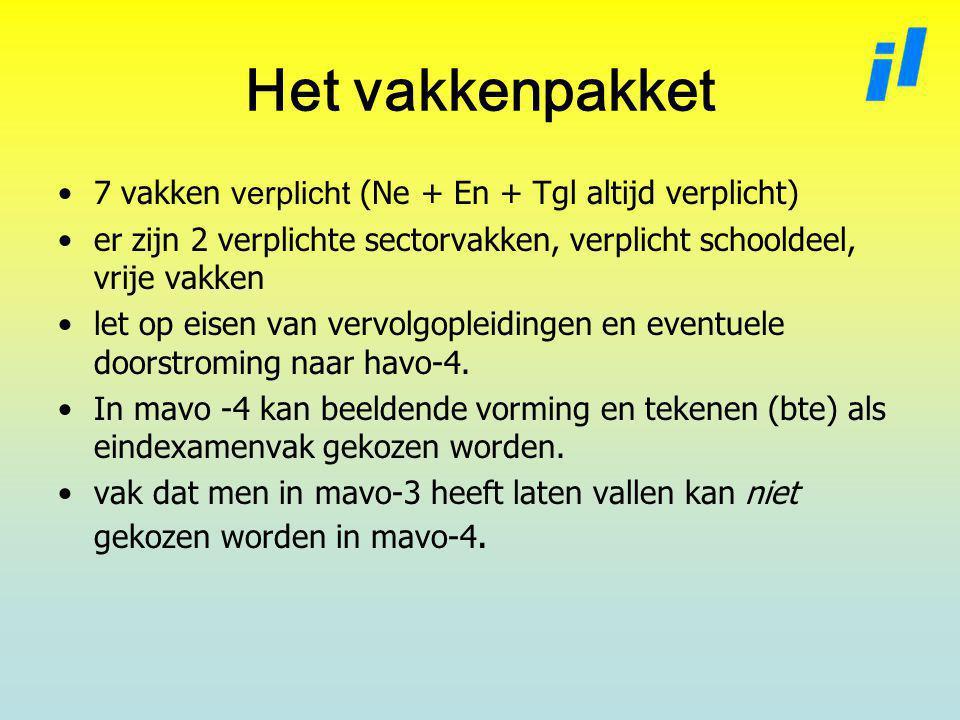 Het vakkenpakket 7 vakken verplicht (Ne + En + Tgl altijd verplicht) er zijn 2 verplichte sectorvakken, verplicht schooldeel, vrije vakken let op eisen van vervolgopleidingen en eventuele doorstroming naar havo-4.