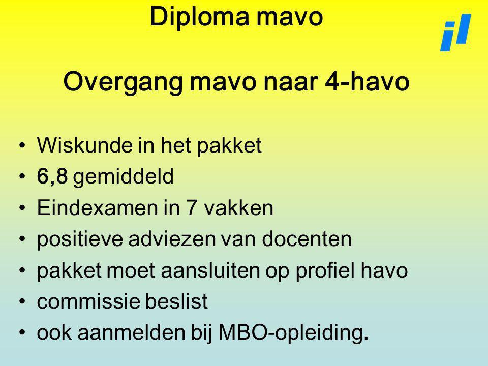 Diploma mavo Overgang mavo naar 4-havo Wiskunde in het pakket 6,8 gemiddeld Eindexamen in 7 vakken positieve adviezen van docenten pakket moet aansluiten op profiel havo commissie beslist ook aanmelden bij MBO-opleiding.