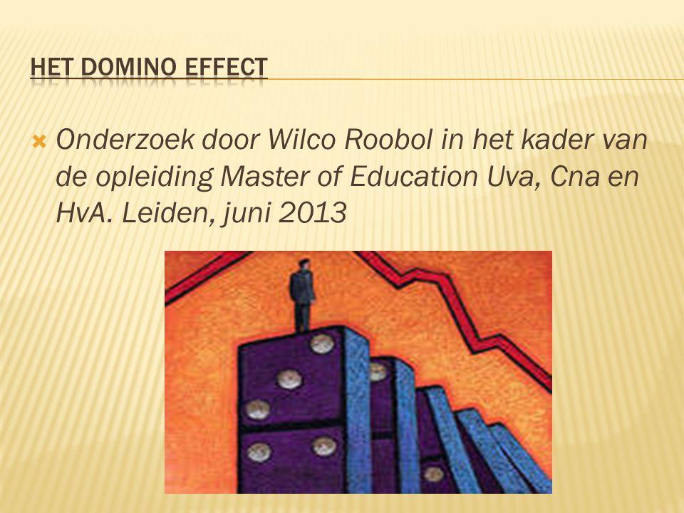 Onderzoek door Wilco Roobol in het kader van de opleiding Master of Education Uva, Cna en HvA. Leiden, juni 2013