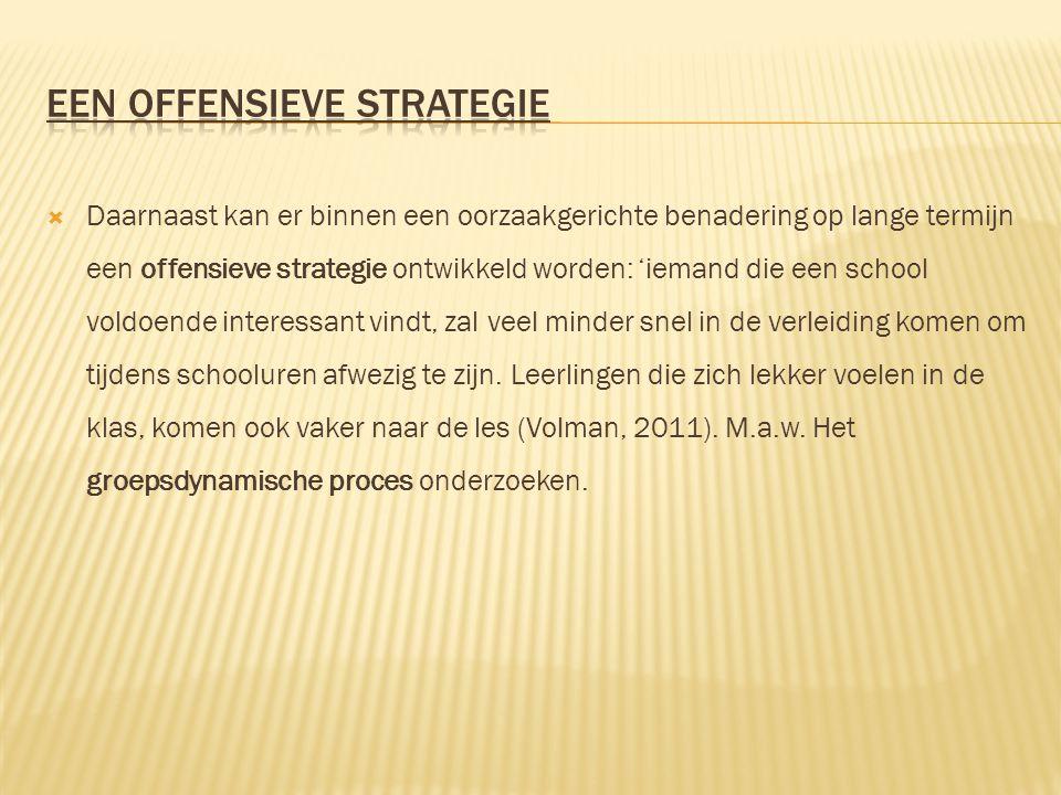  Daarnaast kan er binnen een oorzaakgerichte benadering op lange termijn een offensieve strategie ontwikkeld worden: 'iemand die een school voldoende