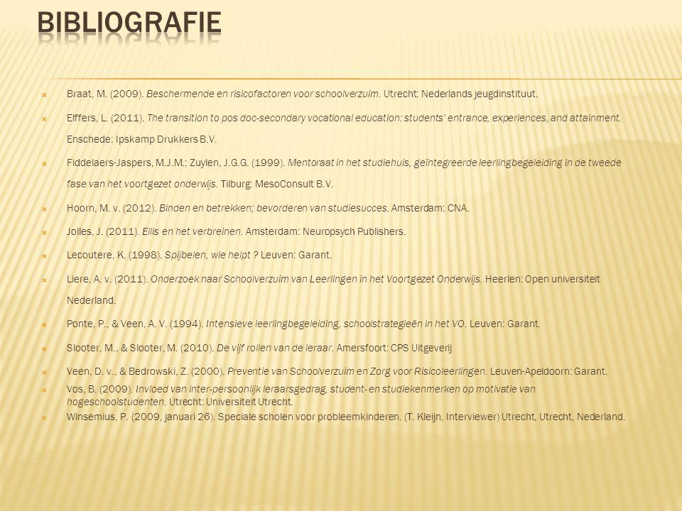  Braat, M. (2009). Beschermende en risicofactoren voor schoolverzuim. Utrecht: Nederlands jeugdinstituut.  Elffers, L. (2011). The transition to pos