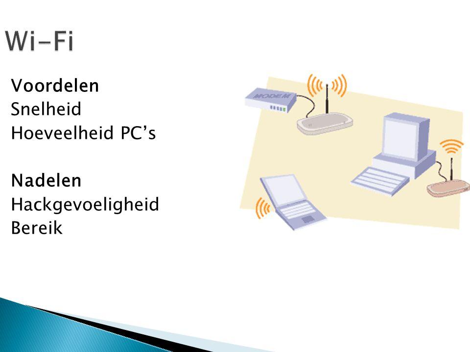 Wi-Fi Voordelen Snelheid Hoeveelheid PC's Nadelen Hackgevoeligheid Bereik