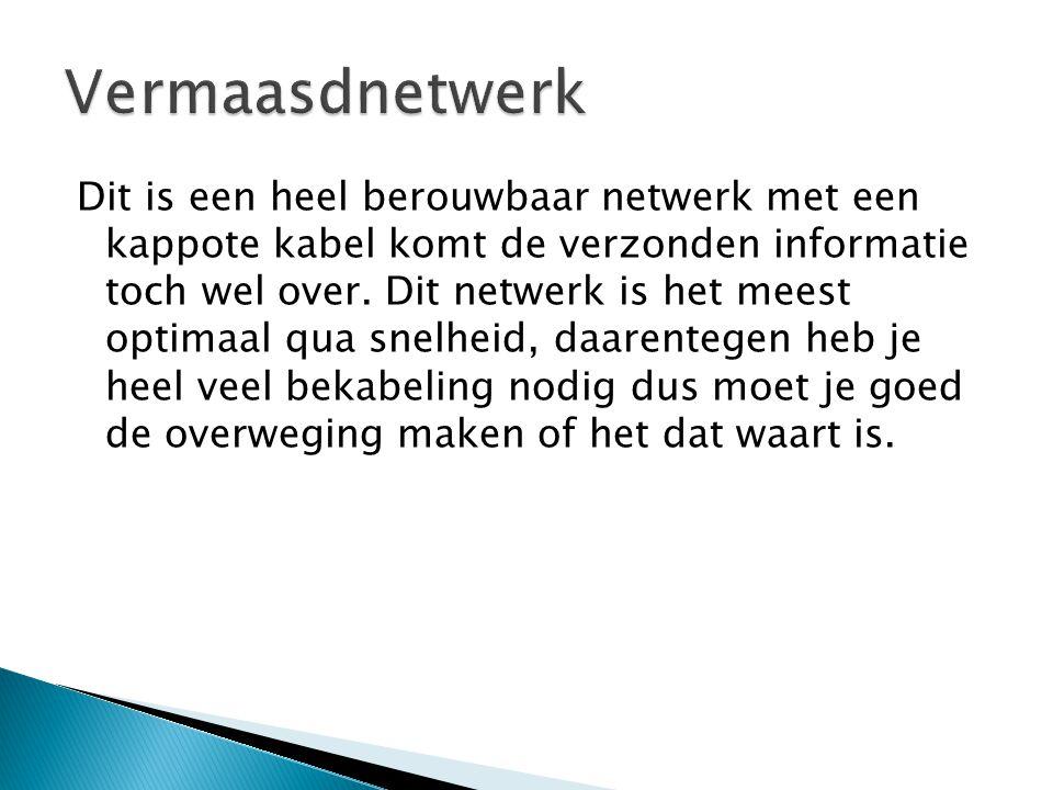 Dit is een heel berouwbaar netwerk met een kappote kabel komt de verzonden informatie toch wel over. Dit netwerk is het meest optimaal qua snelheid, d