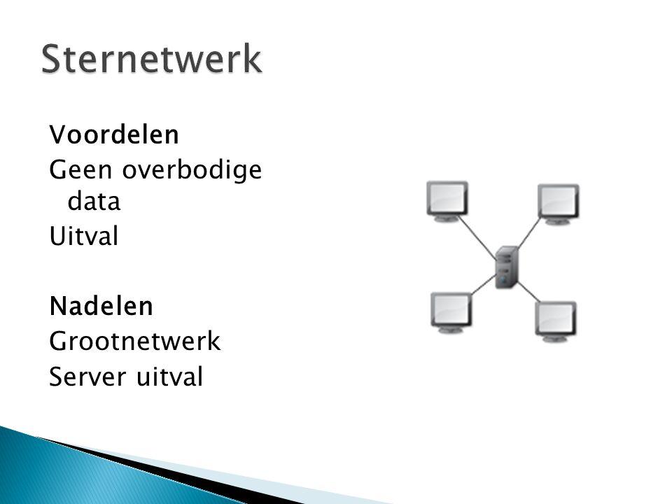 V oordelen Geen overbodige data Uitval Nadelen Grootnetwerk Server uitval