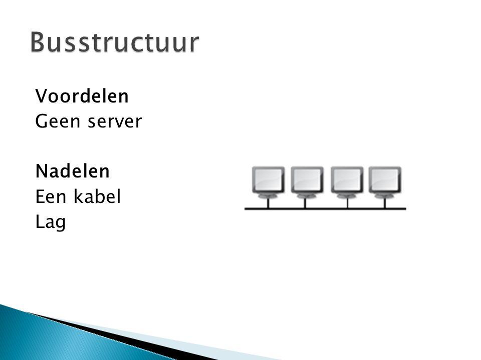Voordelen Geen server Nadelen Een kabel Lag