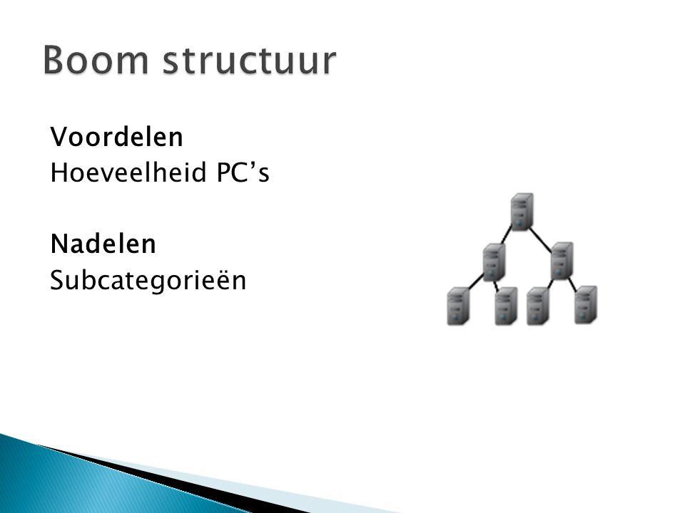 Voordelen Hoeveelheid PC's Nadelen Subcategorieën