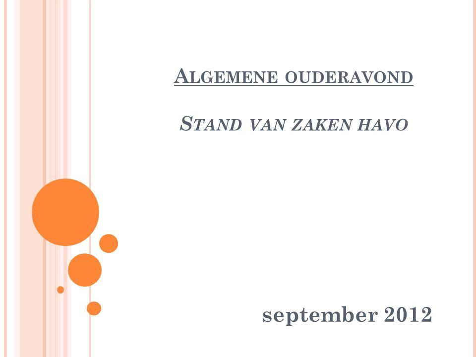 A LGEMENE OUDERAVOND S TAND VAN ZAKEN HAVO september 2012