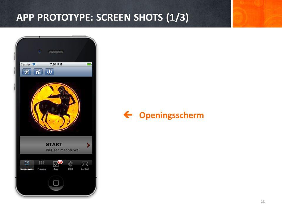 APP PROTOTYPE: SCREEN SHOTS (1/3) 10  Openingsscherm