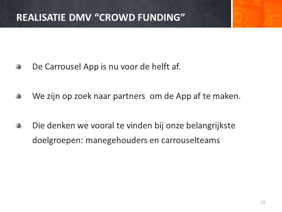 """REALISATIE DMV """"CROWD FUNDING"""" De Carrousel App is nu voor de helft af. We zijn op zoek naar partners om de App af te maken. Die denken we vooral te v"""