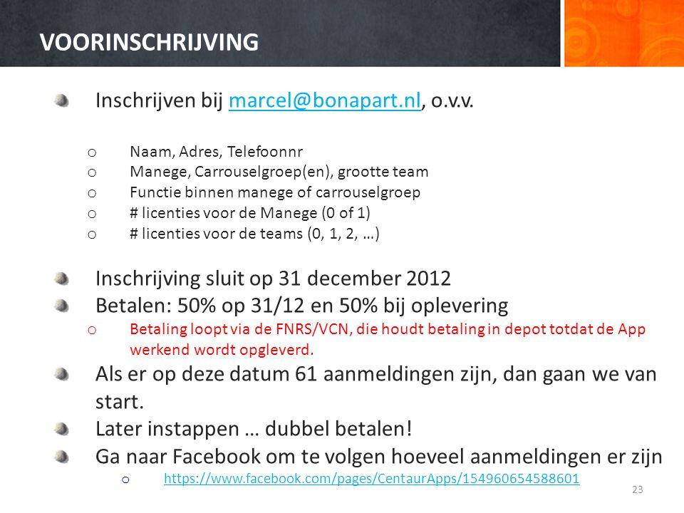 VOORINSCHRIJVING Inschrijven bij marcel@bonapart.nl, o.v.v.marcel@bonapart.nl o Naam, Adres, Telefoonnr o Manege, Carrouselgroep(en), grootte team o F