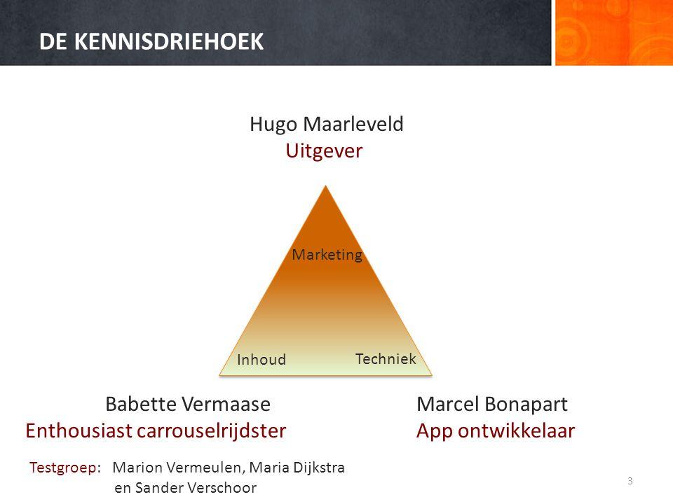 DE KENNISDRIEHOEK 3 Techniek Marketing Inhoud Babette Vermaase Enthousiast carrouselrijdster Hugo Maarleveld Uitgever Marcel Bonapart App ontwikkelaar