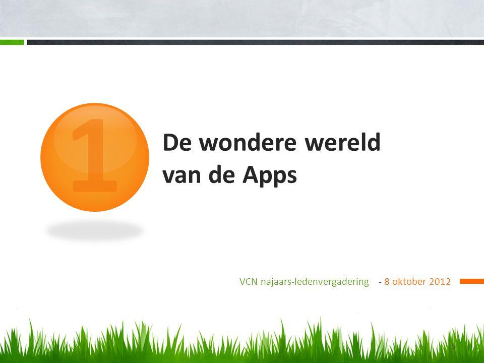 De wondere wereld van de Apps VCN najaars-ledenvergadering - 8 oktober 2012 1 5