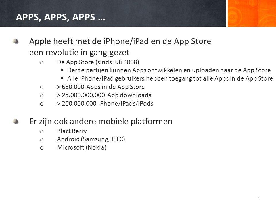 APPS, APPS, APPS … Apple heeft met de iPhone/iPad en de App Store een revolutie in gang gezet o De App Store (sinds juli 2008)  Derde partijen kunnen