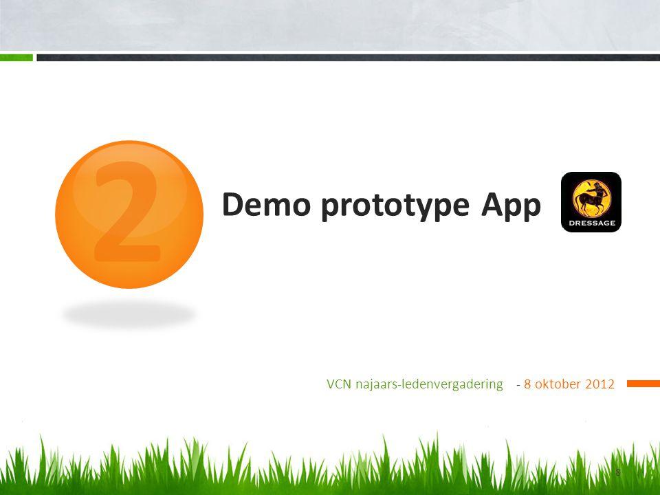 Demo prototype App VCN najaars-ledenvergadering - 8 oktober 2012 2 8