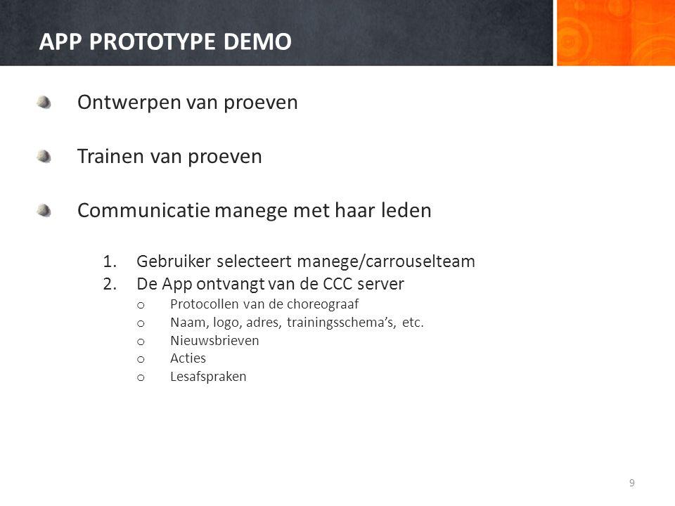 APP PROTOTYPE DEMO Ontwerpen van proeven Trainen van proeven Communicatie manege met haar leden 1.Gebruiker selecteert manege/carrouselteam 2.De App o