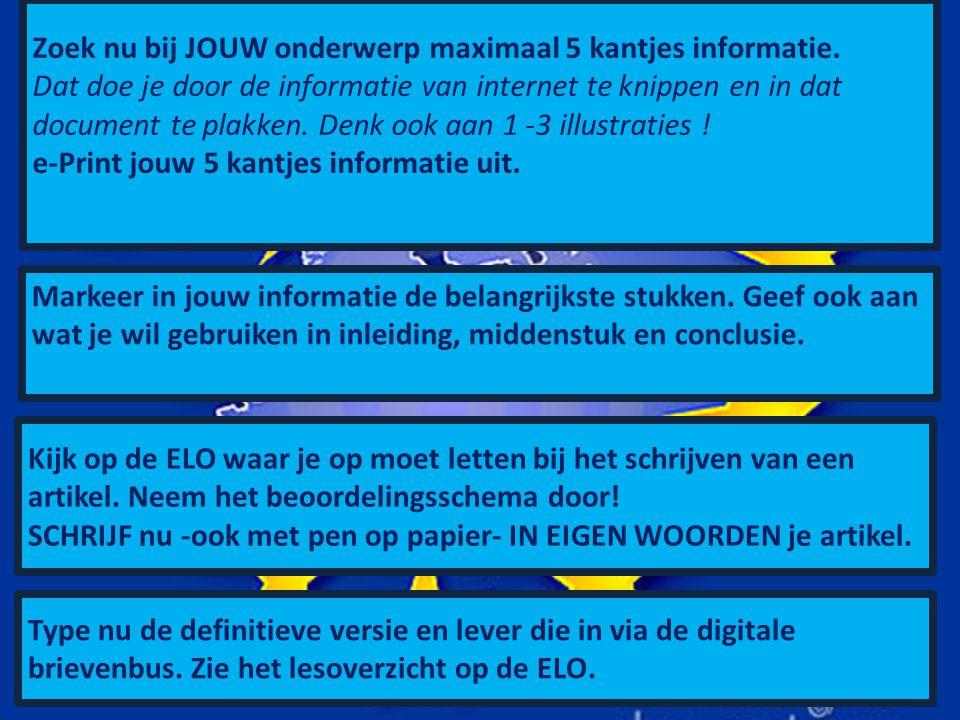 Zoek nu bij JOUW onderwerp maximaal 5 kantjes informatie.