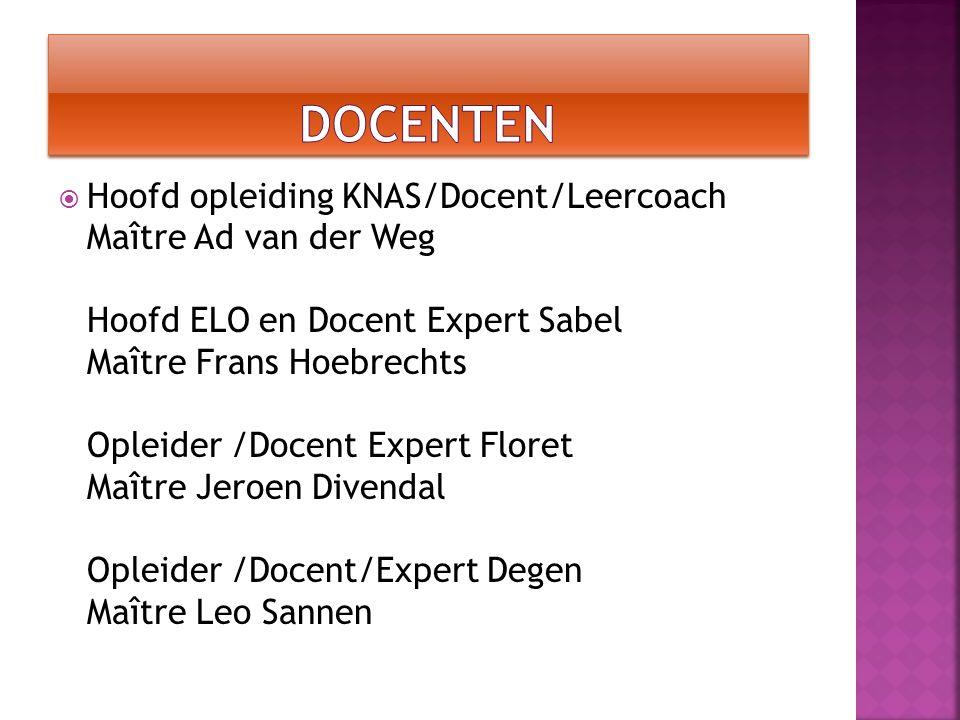  Hoofd opleiding KNAS/Docent/Leercoach Maître Ad van der Weg Hoofd ELO en Docent Expert Sabel Maître Frans Hoebrechts Opleider /Docent Expert Floret