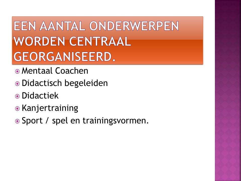  Mentaal Coachen  Didactisch begeleiden  Didactiek  Kanjertraining  Sport / spel en trainingsvormen.