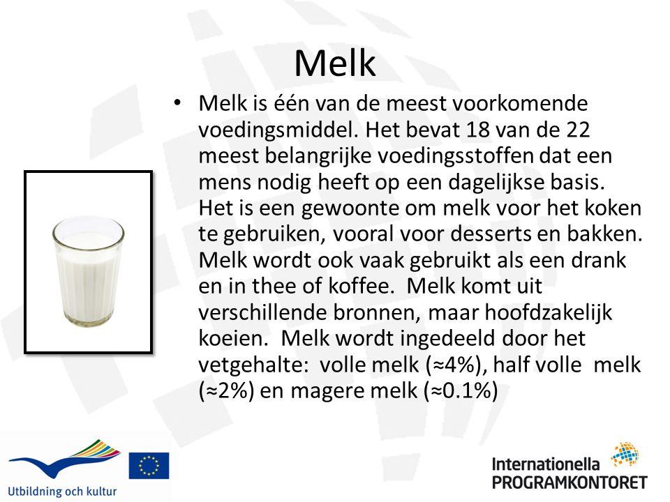 Melk Melk is één van de meest voorkomende voedingsmiddel. Het bevat 18 van de 22 meest belangrijke voedingsstoffen dat een mens nodig heeft op een dag