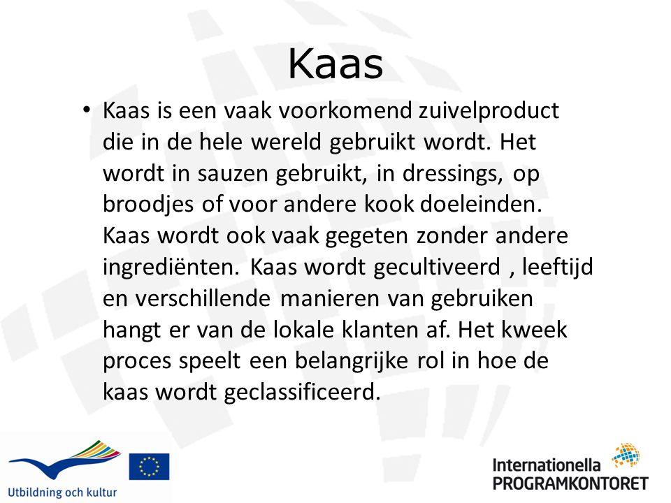 Kaas Kaas is een vaak voorkomend zuivelproduct die in de hele wereld gebruikt wordt. Het wordt in sauzen gebruikt, in dressings, op broodjes of voor a