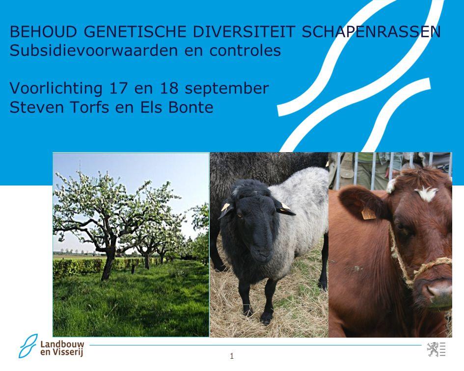 1 BEHOUD GENETISCHE DIVERSITEIT SCHAPENRASSEN Subsidievoorwaarden en controles Voorlichting 17 en 18 september Steven Torfs en Els Bonte