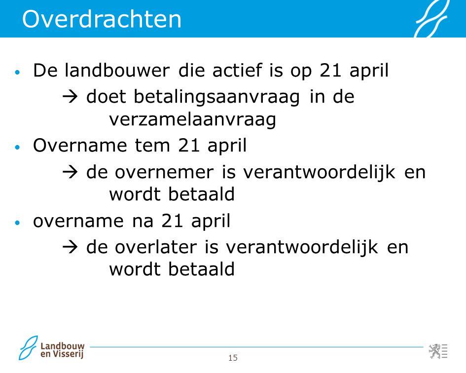 15 De landbouwer die actief is op 21 april  doet betalingsaanvraag in de verzamelaanvraag Overname tem 21 april  de overnemer is verantwoordelijk en