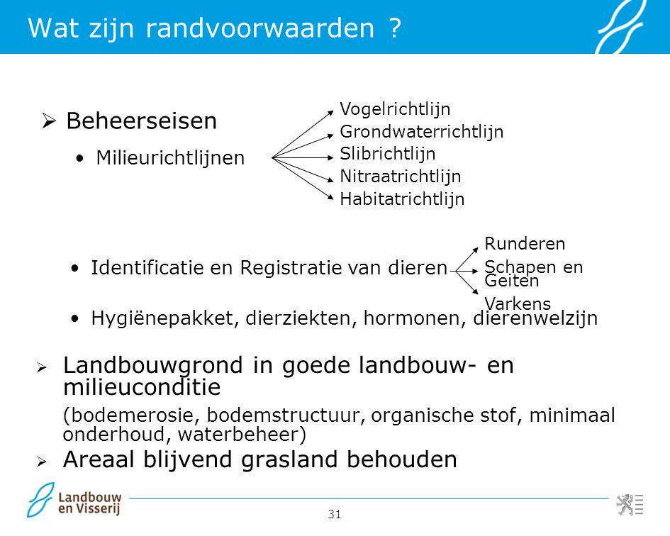 31  Beheerseisen Milieurichtlijnen Wat zijn randvoorwaarden ?  Landbouwgrond in goede landbouw- en milieuconditie (bodemerosie, bodemstructuur, orga