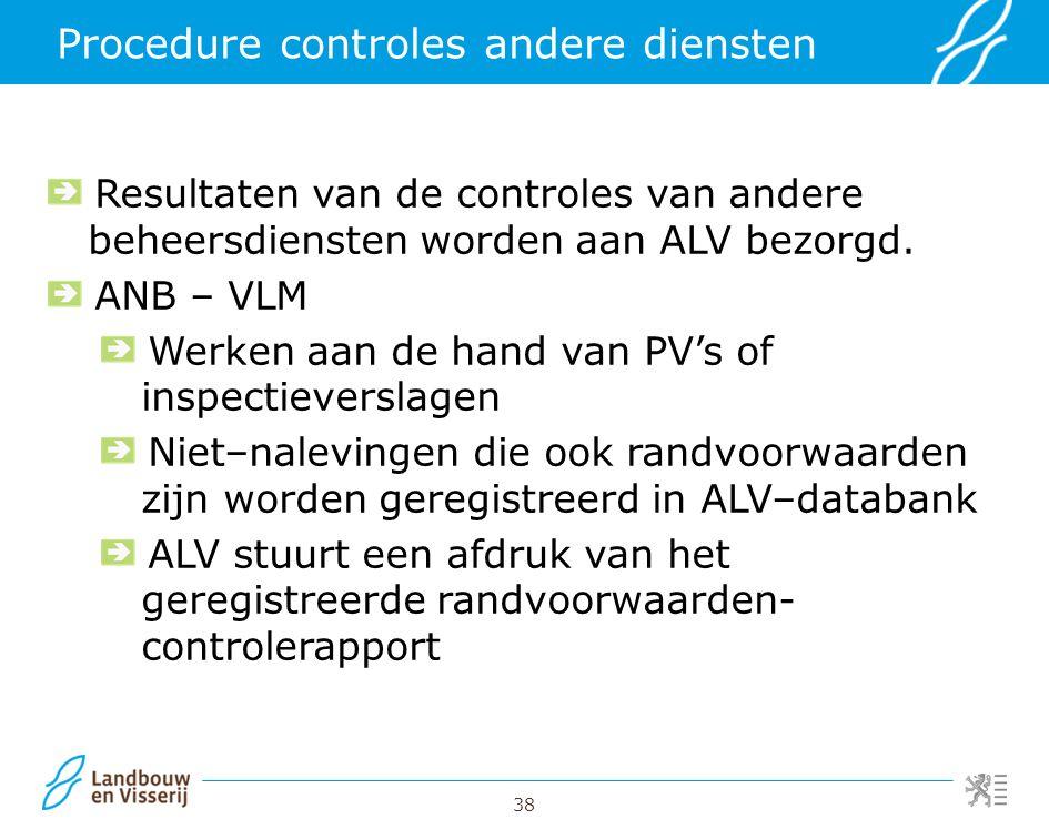 38 Procedure controles andere diensten Resultaten van de controles van andere beheersdiensten worden aan ALV bezorgd. ANB – VLM Werken aan de hand van
