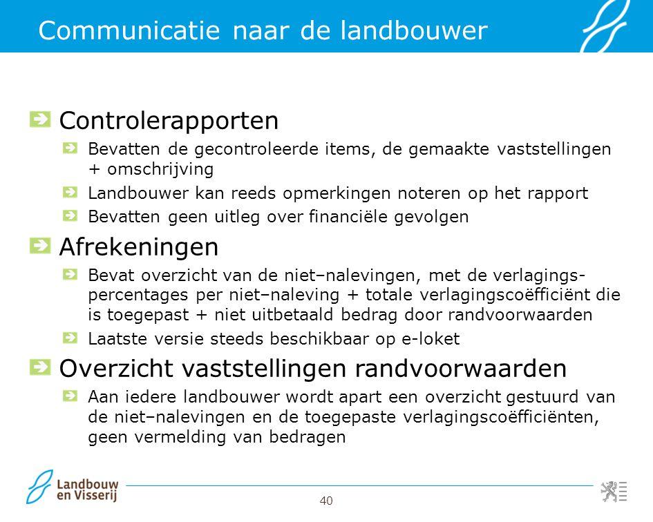 40 Communicatie naar de landbouwer Controlerapporten Bevatten de gecontroleerde items, de gemaakte vaststellingen + omschrijving Landbouwer kan reeds