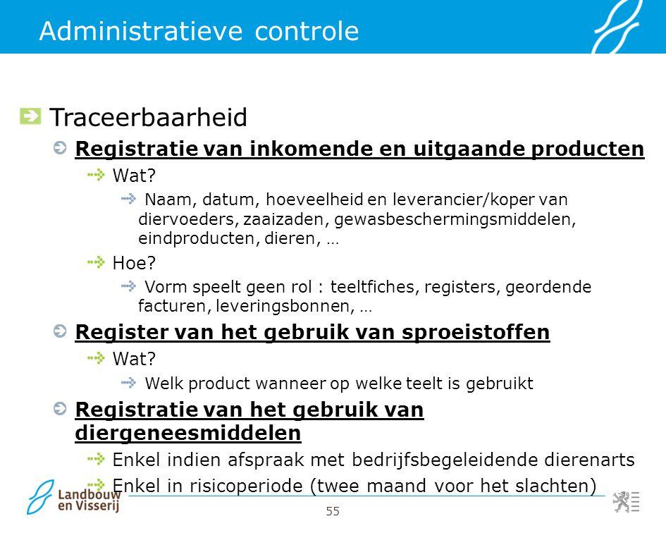 55 Administratieve controle Traceerbaarheid Registratie van inkomende en uitgaande producten Wat? Naam, datum, hoeveelheid en leverancier/koper van di