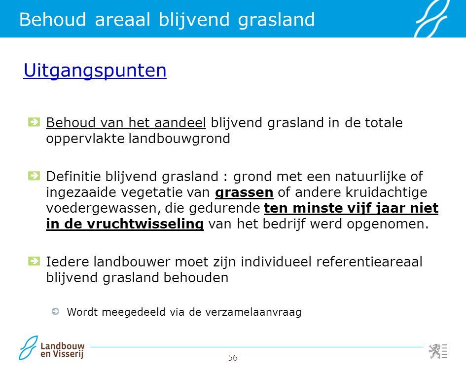 56 Behoud areaal blijvend grasland Uitgangspunten Behoud van het aandeel blijvend grasland in de totale oppervlakte landbouwgrond Definitie blijvend g